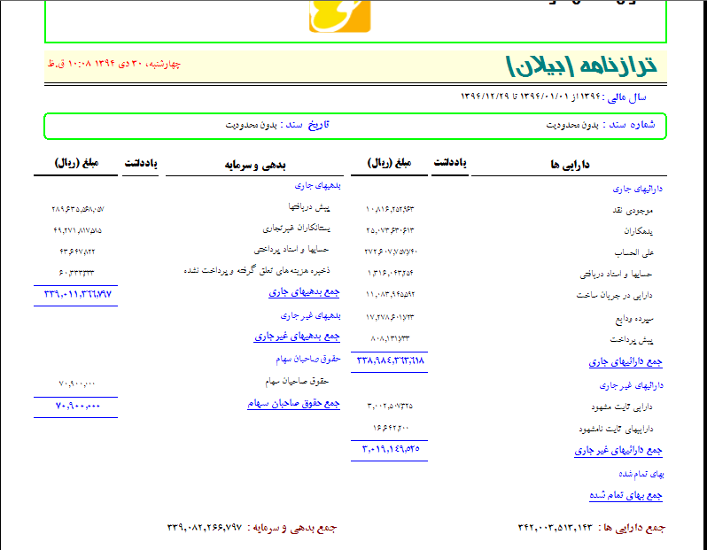 ترازنامه (بیلان) تعاونی مسکن در نرم افزار تعاونی مسکن مهر